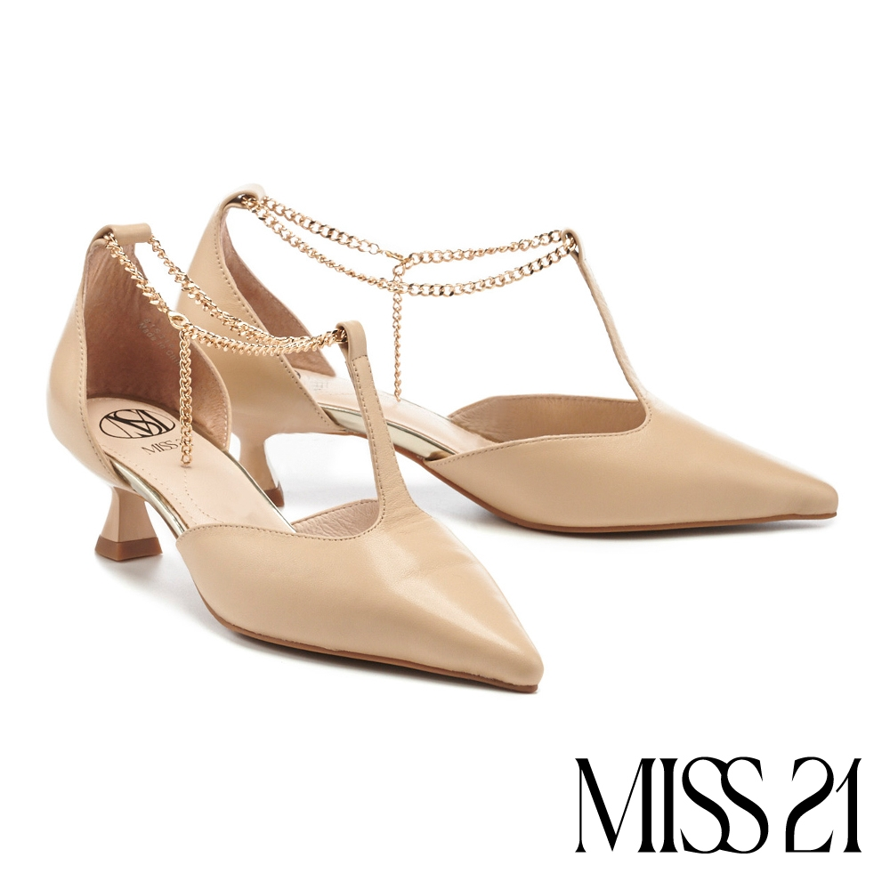 高跟鞋 MISS 21 優雅摩登金屬T字鏈條尖頭小貓高跟鞋-杏