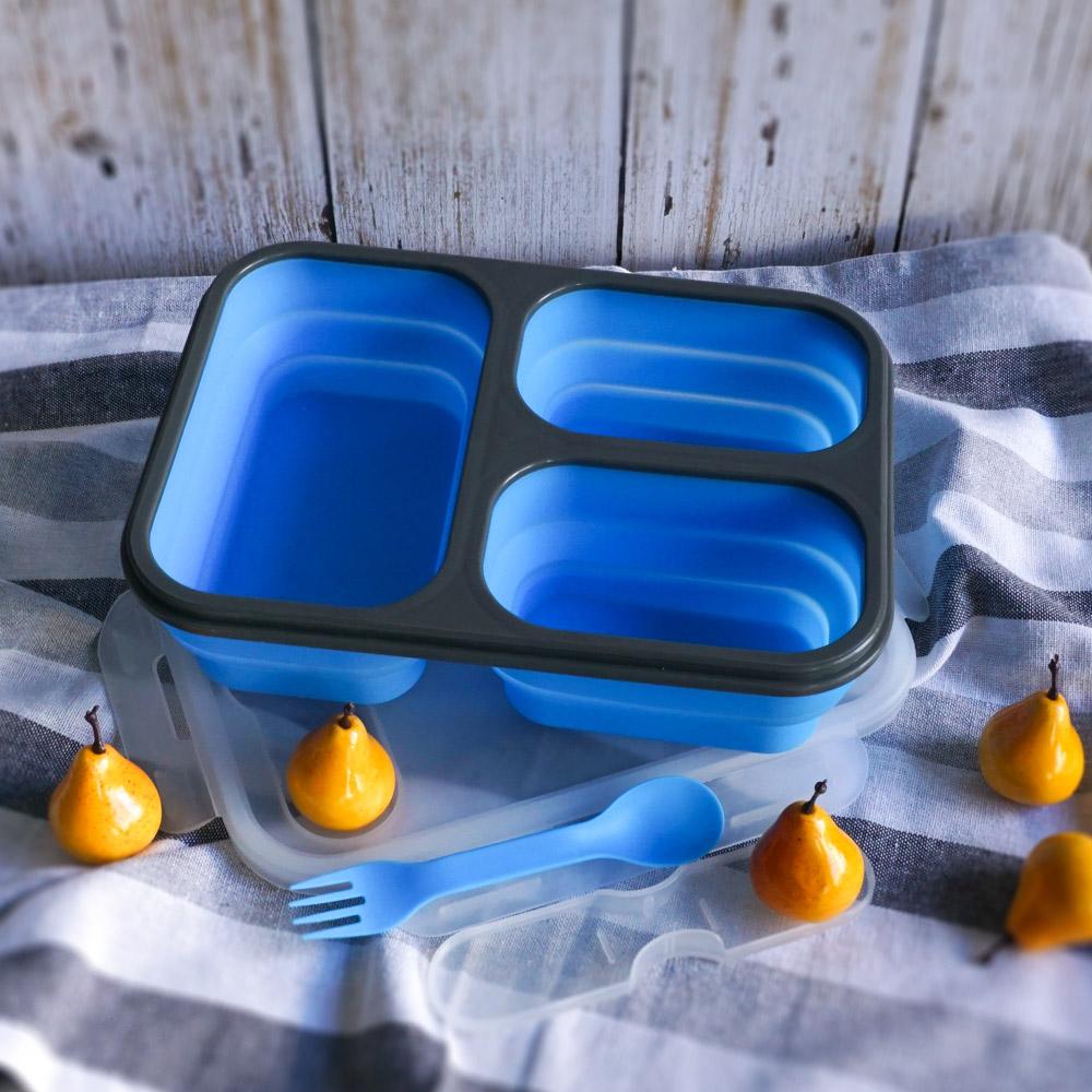 Homely Zakka 伸縮收納矽膠分隔保鮮便當餐盒-藍色