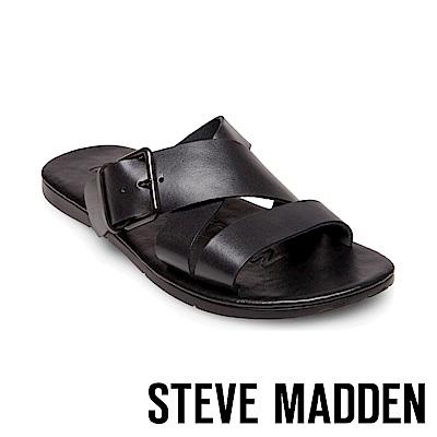STEVE MADDEN-SUSPENSE扣帶式男士夏季涼拖鞋-黑色