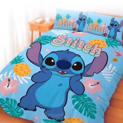 享夢城堡 單人床包雙人兩用被套三件組-迪士尼史迪奇Stitch 阿囉哈-藍