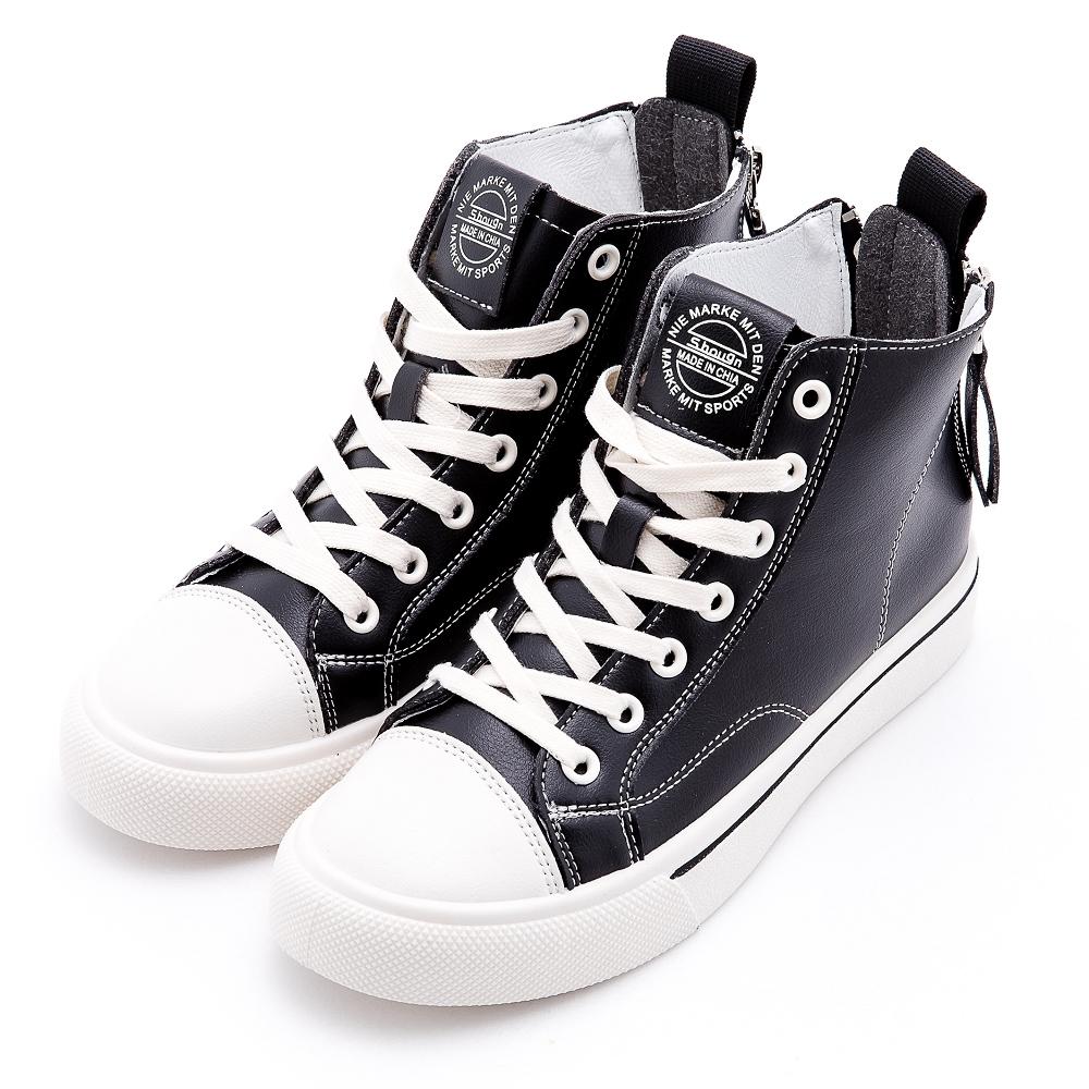 River&Moon休閒鞋 經典皮質高筒雙拉鍊厚底鞋 黑