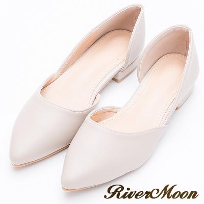 River&Moon簡約經典素面皮質側挖空尖頭鞋-淺灰