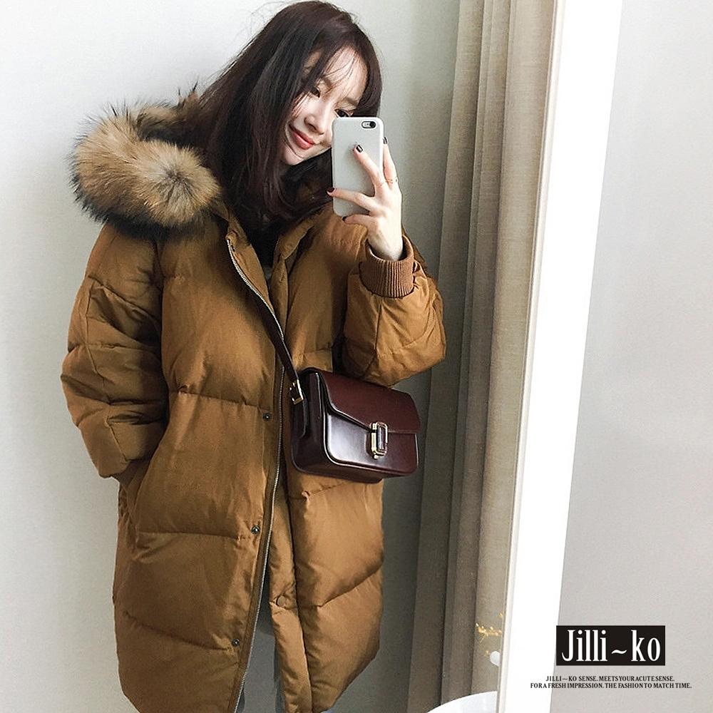 JILLI-KO 韓版寬鬆羽絨棉中長版毛絨連帽外套- 黑/焦糖棕