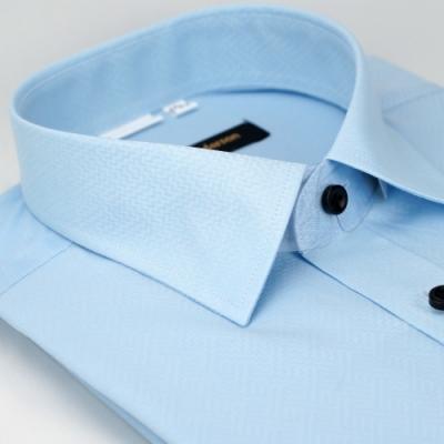 【金‧安德森】藍色階梯暗紋窄版長袖襯衫fast