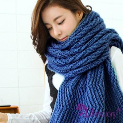 Decoy 韓風針織 簡約加厚保暖圍巾 深藍