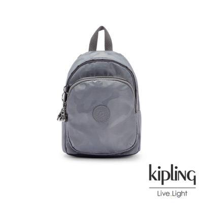 Kipling 光澤霧灰紫迷彩休閒後背包-DELIA COMPACT