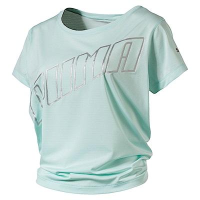 PUMA-女性慢跑系列Slogan短袖T恤-輕水藍-歐規