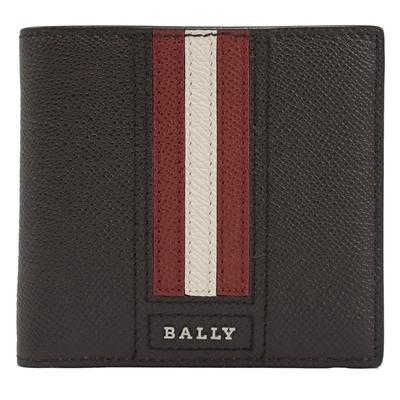 BALLY 金屬LOGO紅白紅織帶牛皮對開零錢短夾(深咖)