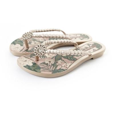 Grendha 可愛串珠人字帶夾腳鞋-珍珠粉