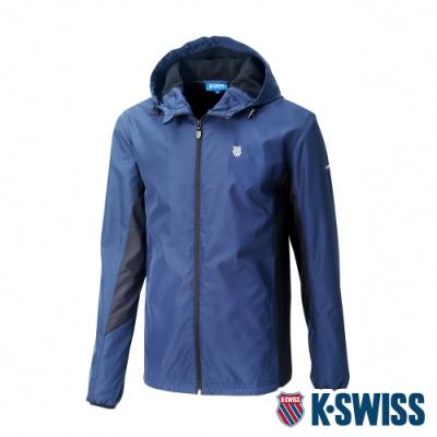 K-SWISS Contrast Panel 刷毛風衣外套-男-藍/黑