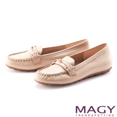 MAGY 嚴選真皮金屬飾釦 女 平底鞋 裸色