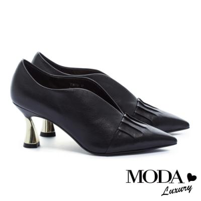 高跟鞋 MODA Luxury 簡約雅致皺折尖頭牛皮造型高跟鞋-黑