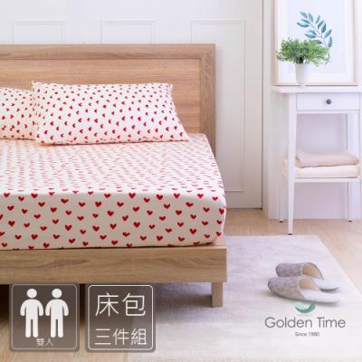 GOLDEN-TIME-繁心白-200織紗精梳棉三件式床包組(雙人)