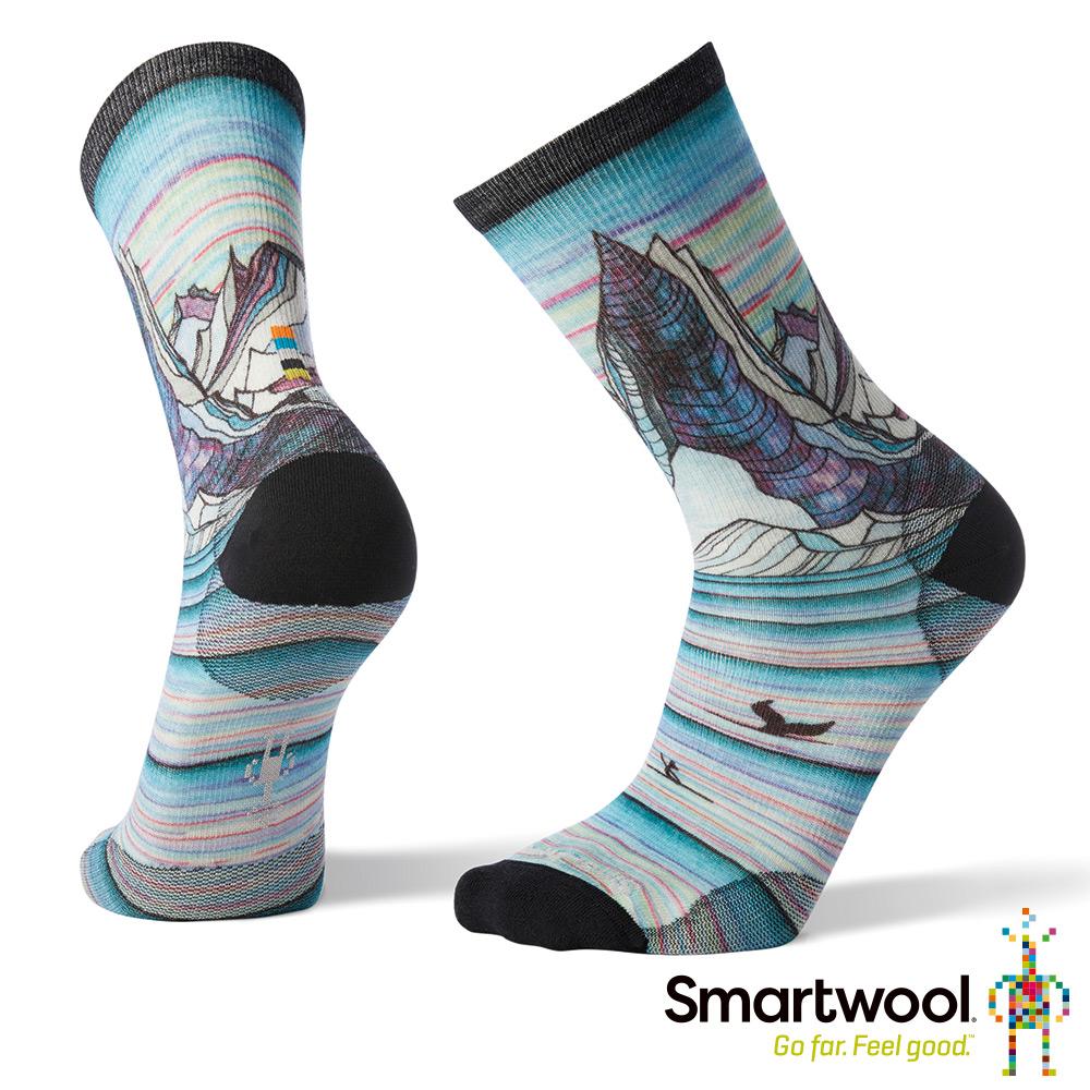 SmartWool 男Print系列中長襪-Surf Lineup 鋼鐵深藍