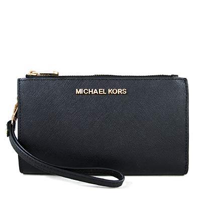 MICHAEL KORS JET SET金字Logo十字紋防刮皮革雙層手拿長夾(黑色)