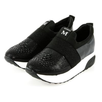 JMS-閃耀鑽飾拼接束帶輕量厚底內增高休閒鞋-黑色