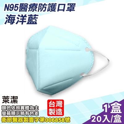 萊潔 N95醫療防護口罩 (海洋藍) 20入/盒 (台灣製造 CNS14774)