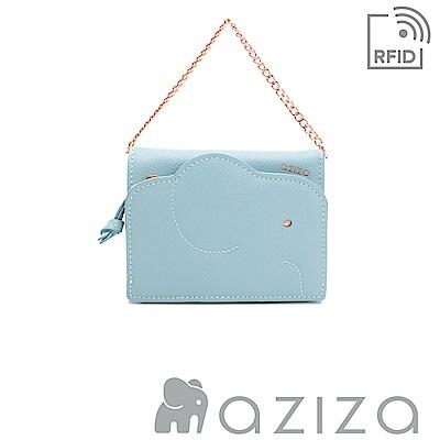 aziza 可拆式鍊帶短夾 水藍