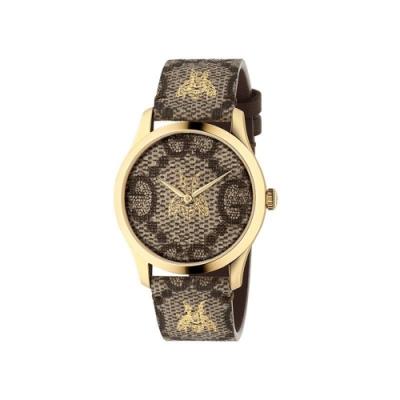 GUCCI G-TIMELESS經典花紋蜜蜂皮帶腕錶38mm(YA1264068)