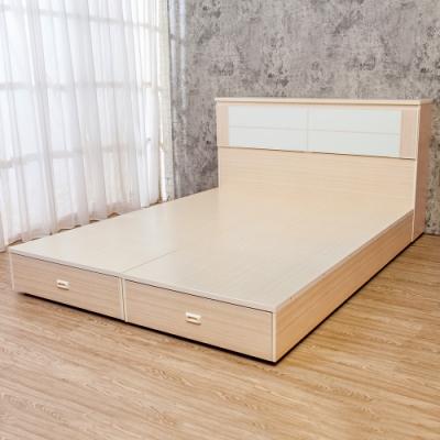 Birdie南亞塑鋼-5尺雙人塑鋼床組(床頭箱 後二抽屜床底)(白橡色 白色)
