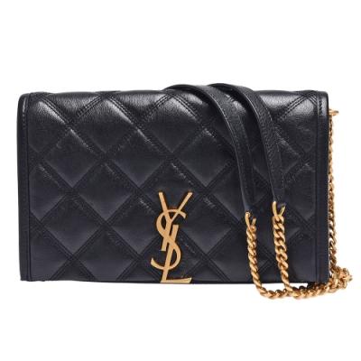 YSL 經典BECKY系列品牌LOGO小羊皮磁釦多夾層斜背包(黑)