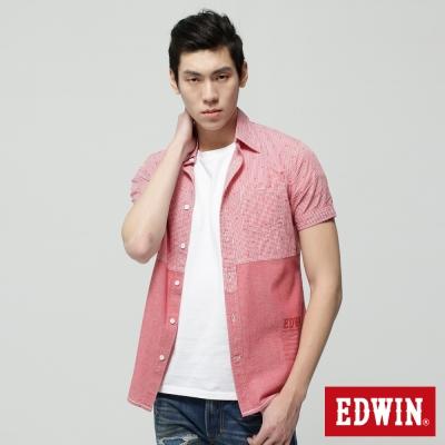 EDWIN 襯衫 剪接配色短袖襯衫-男-紅色