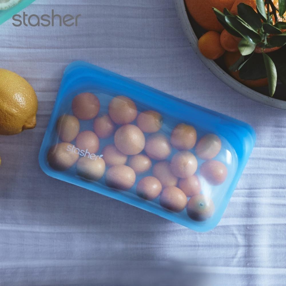 美國Stasher 長形白金矽膠密封袋-藍寶石(快)