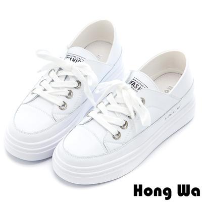 Hong Wa 2WAY極簡綁帶牛皮小白鞋 - 白