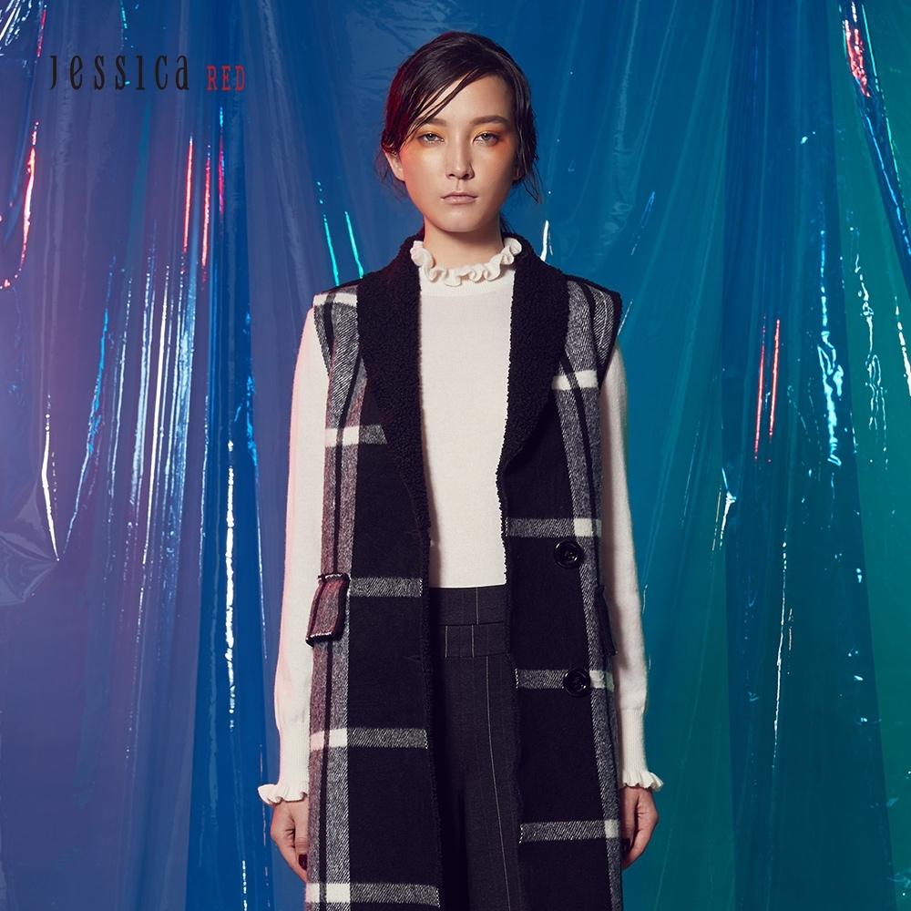 JESSICA RED - 簡約捲邊造型毛衣(白)