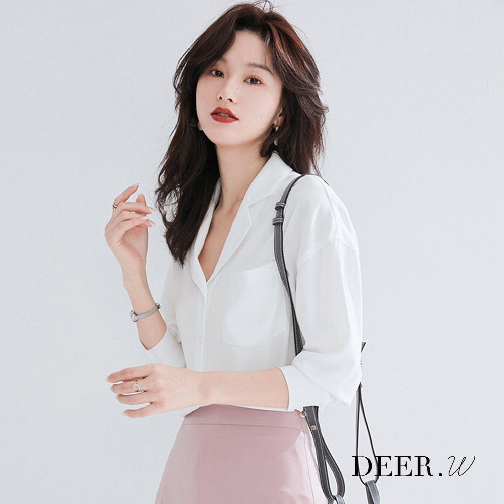 DEER.W 翻領寬版口袋襯衫(白)