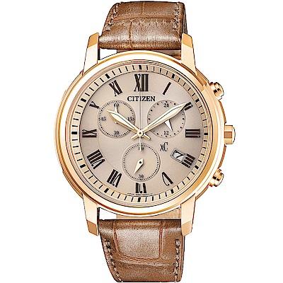 CITIZEN星辰限定XC系列時尚知性光動能計時腕錶-咖啡FB1433-01P