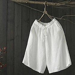 文藝復古鬆緊腰寬鬆亞麻寬管短褲五分-設計所在