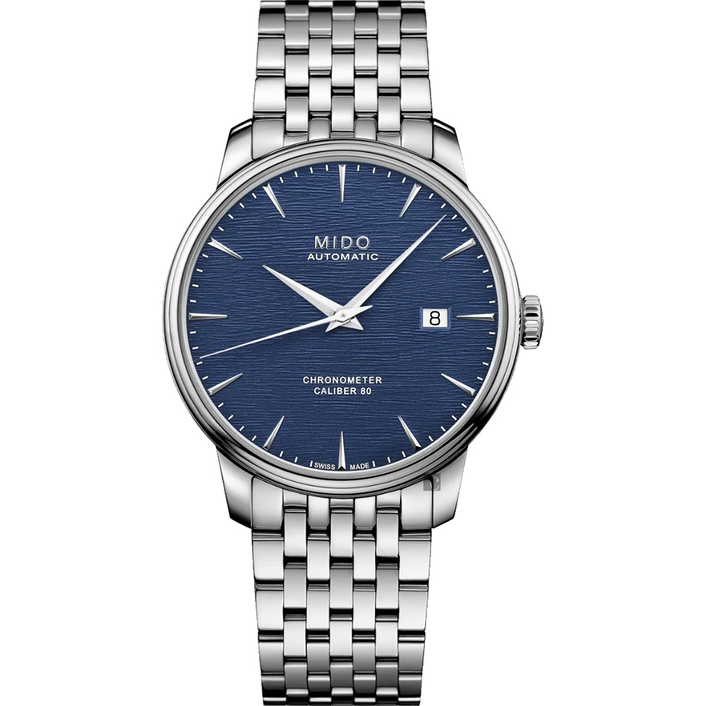 MIDO 美度 Baroncelli 永恆矽游絲天文台認證機械錶-藍x40mm M0274081104100