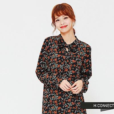H:CONNECT 韓國品牌 女裝-滿版印花綁帶洋裝-藍