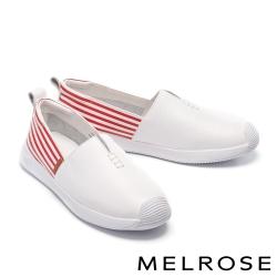 休閒鞋 MELROSE 清新簡約純色全真皮厚底休閒鞋-紅
