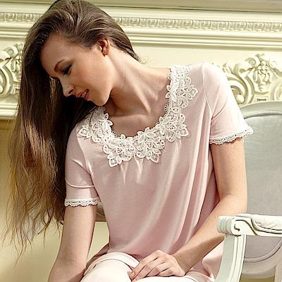 羅絲美睡衣 -悠然自得短袖褲裝睡衣 (櫻花粉)