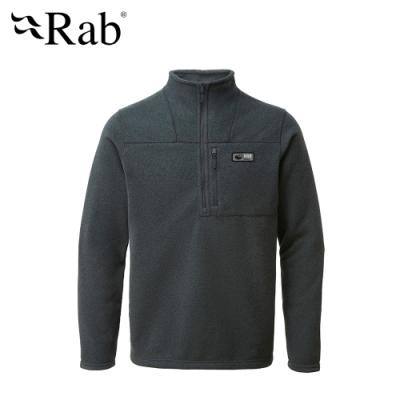 【英國 RAB】Quest Pull-on 長袖高領拉鍊刷毛衣 男款 煤炭黑 #QFB25