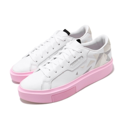 adidas 休閒鞋 Sleek Super 厚底 女鞋 愛迪達 三葉草 皮革鞋面 流行 穿搭 白 粉 EH1389