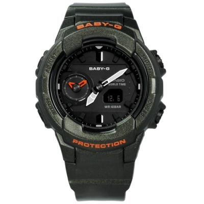 Baby-G CASIO 卡西歐街頭率性數位雙顯錶-灰綠色/42mm