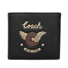 COACH黑色荔枝紋全皮騎士圖印雙摺對開男夾