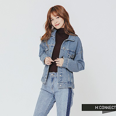H:CONNECT 韓國品牌 女裝-貼布拼接牛仔外套-藍