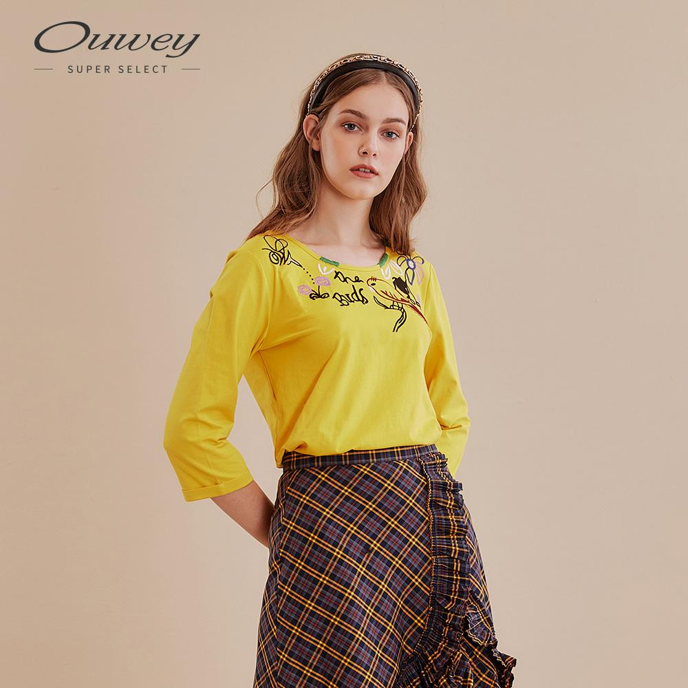 OUWEY歐薇 休閒感可愛刺繡圓領上衣(紅/黃)