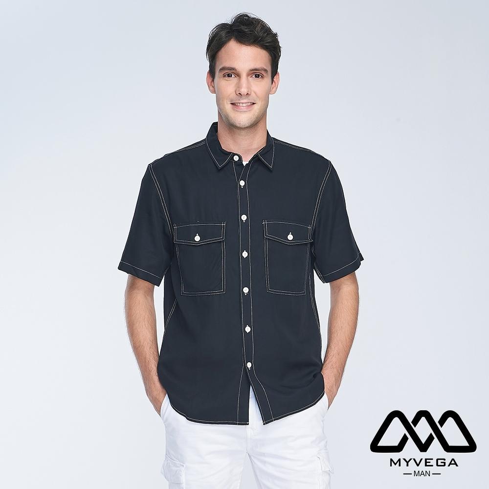 MYVEGA MAN落肩oversize撞色裝飾線貼袋短襯衫-黑