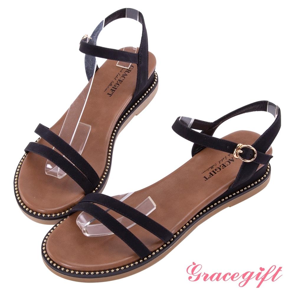 Grace gift-光澤珠飾雙帶平底涼鞋 黑