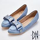 DN 高雅傾心 甜美蝴蝶結內增高樂福鞋-水藍