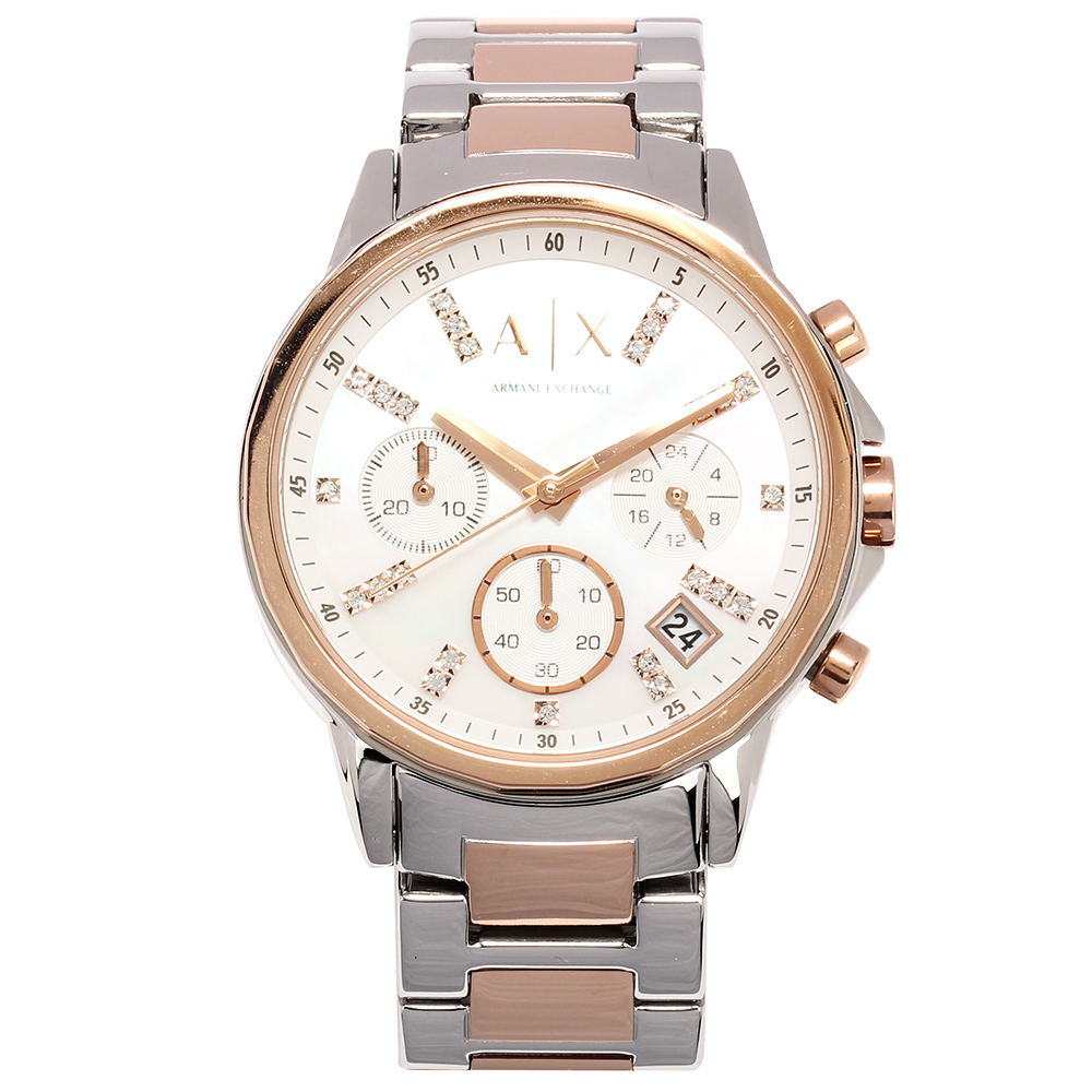 A/X Armani Exchange 雙色時尚鑲鑽鋼帶女腕錶-(AX4331)-35mm