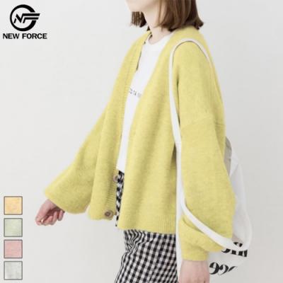 NEW FORCE 暖色系質感針織外套-蜜糖黃