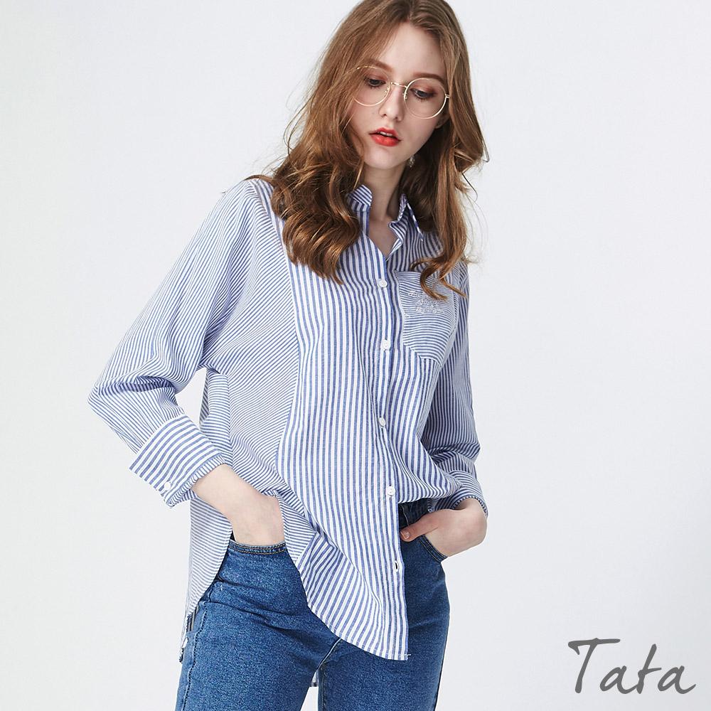 條紋拼接刺繡長版襯衫 共二色 TATA PLUS