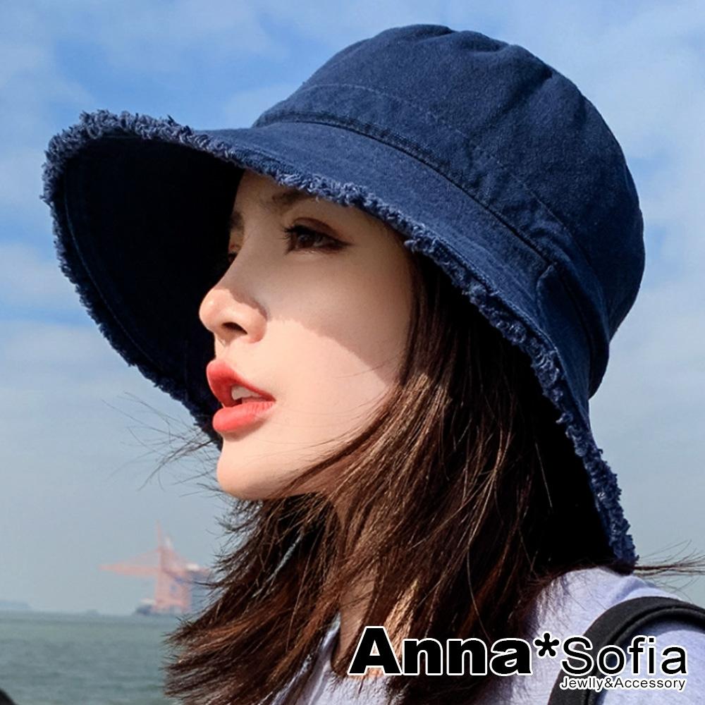 AnnaSofia 日式原宿毛邊 純棉遮陽防曬寬簷漁夫帽盆帽(深藍系)