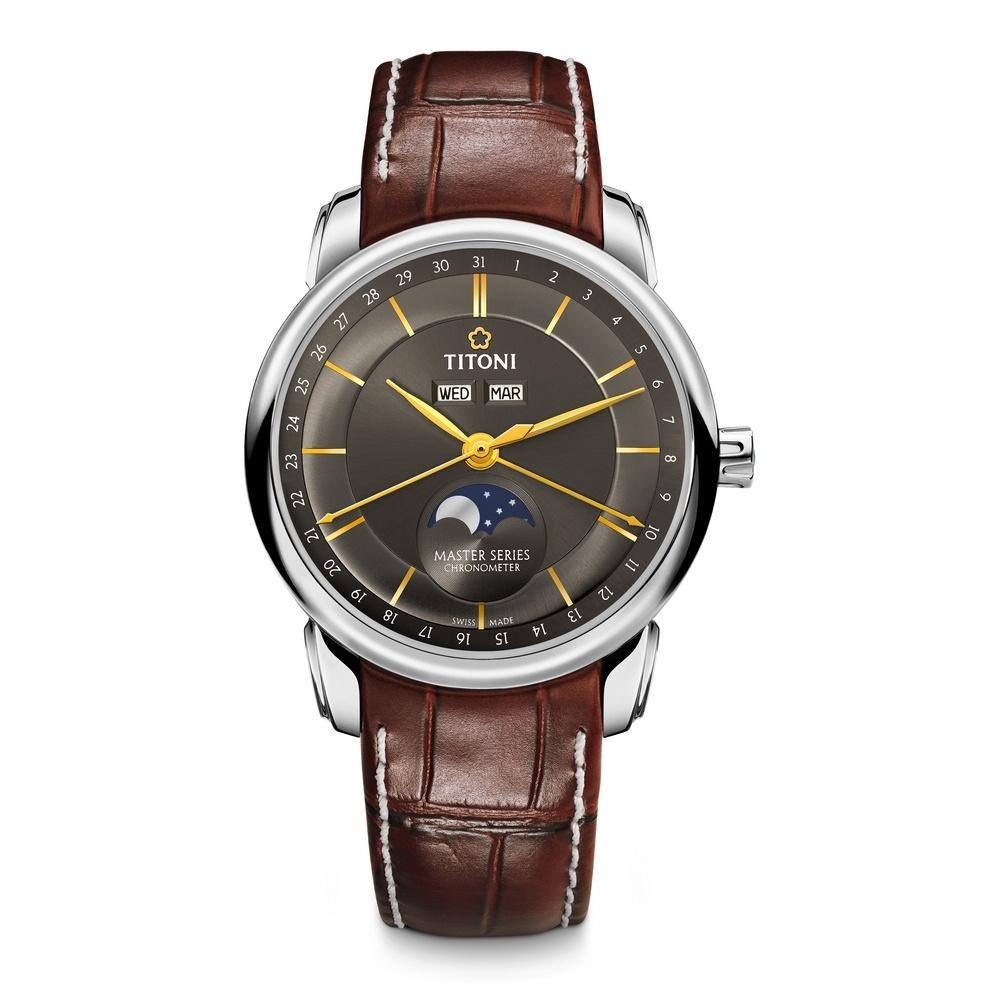 TITONI瑞士梅花錶 天文台認證月相錶(94588 S-ST-637)-晶碳灰/41mm